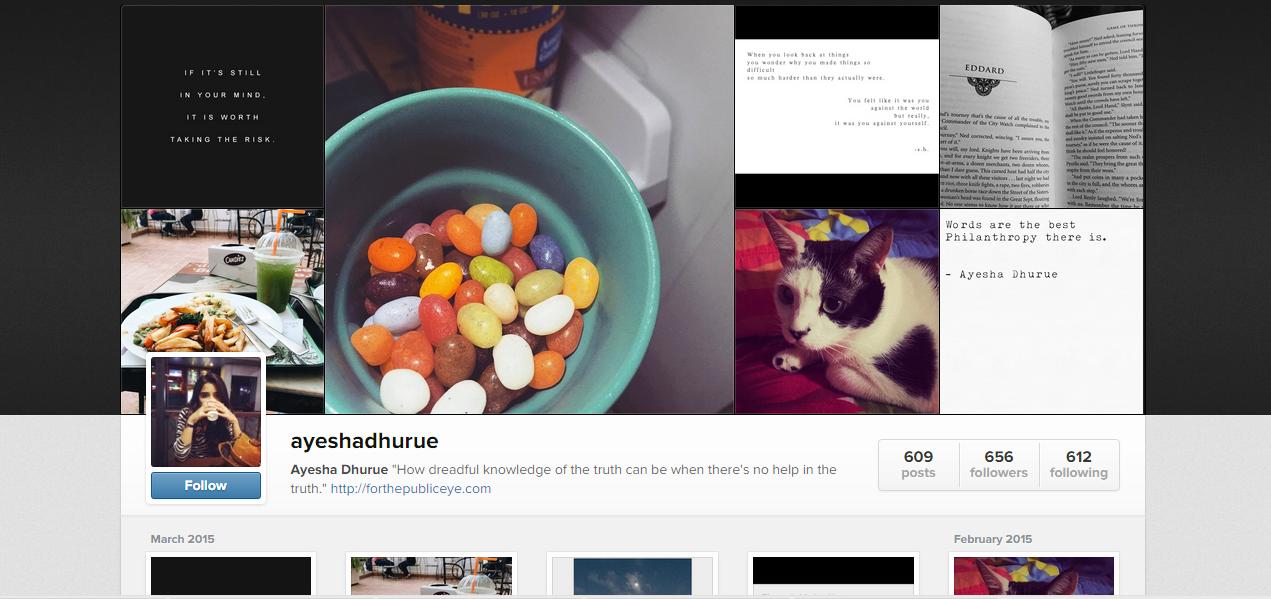 That's my Instagram Profile- @ayeshadhurue